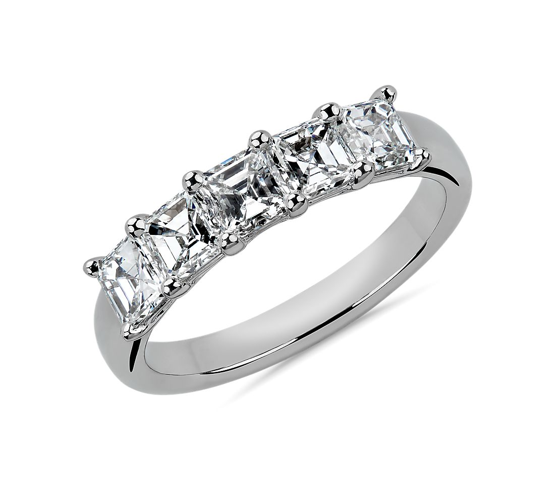 Five Stone Asscher Cut Diamond Ring in Platinum- G/VS2 (1.45 ct. tw.)