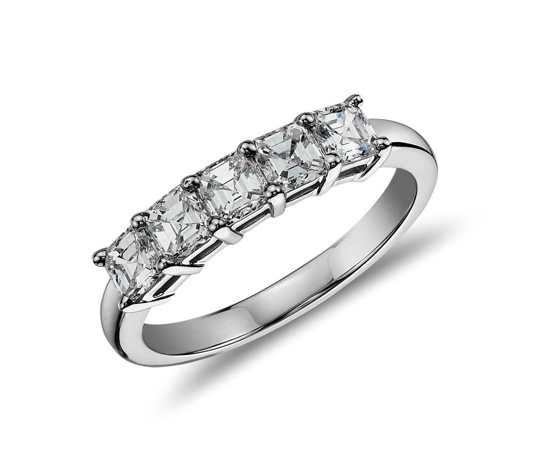 Classic Asscher Cut Five Stone Diamond Ring in Platinum (1 ct. tw.)