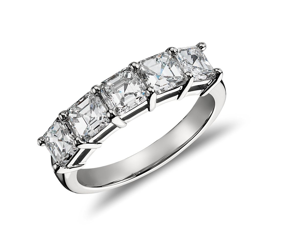 Classic Asscher Cut Five Stone Diamond Ring in Platinum (2 ct. tw.)