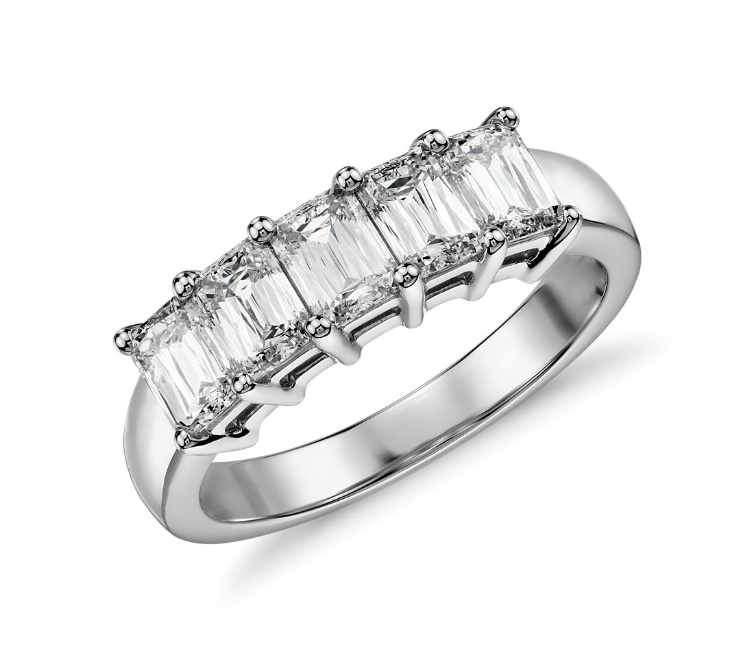 Brilliant Emerald Cut Five Stone Diamond Ring in Platinum (1.50 ct. tw.)