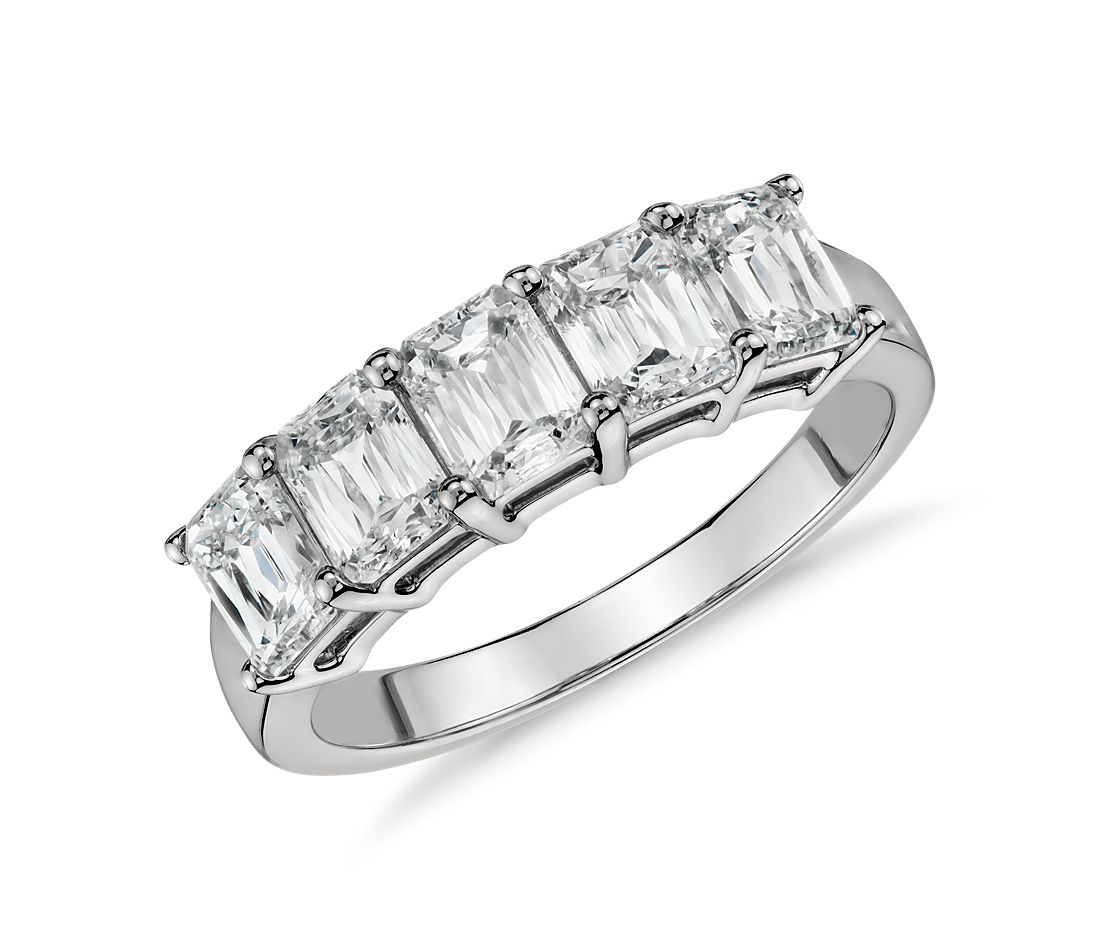 Brilliant Emerald Cut Five-Stone Diamond Ring In Platinum