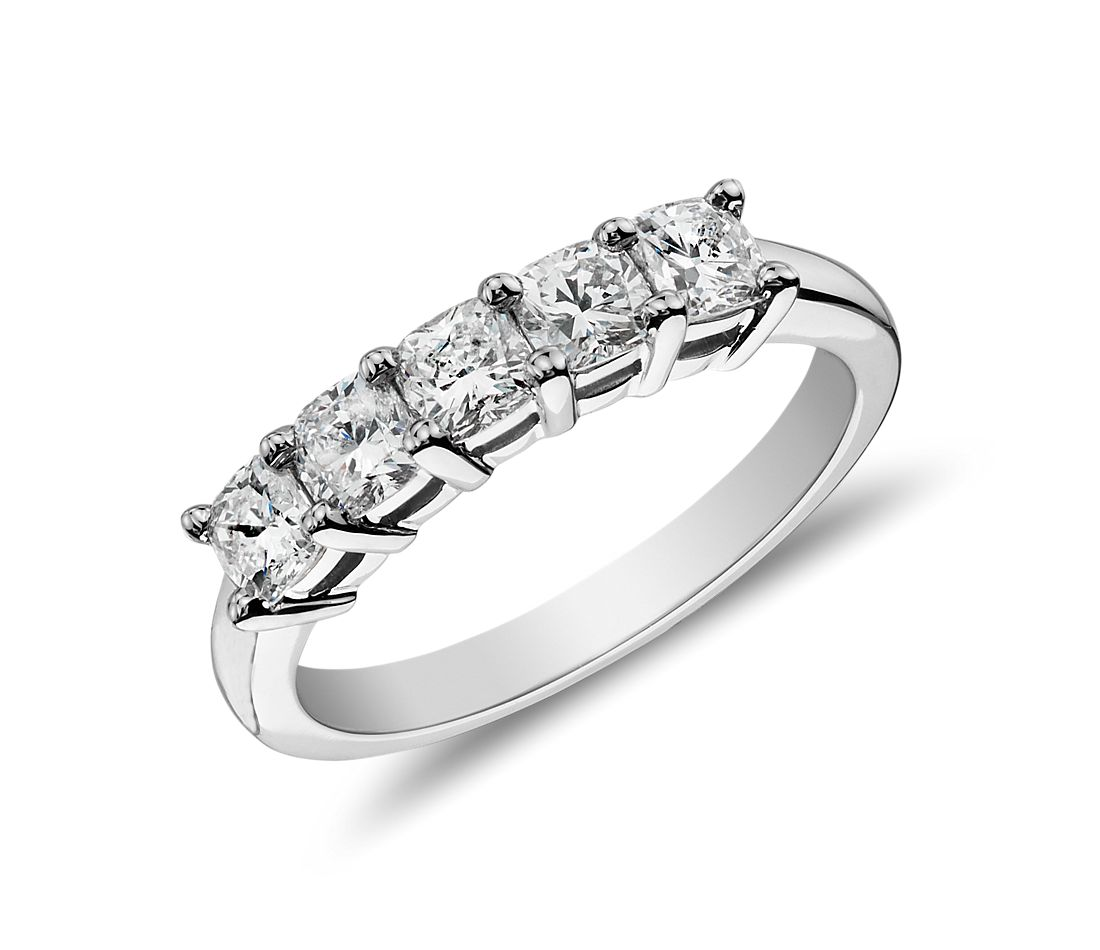 Clic Cushion Cut Five Stone Diamond Ring In Platinum 1 Ct Tw