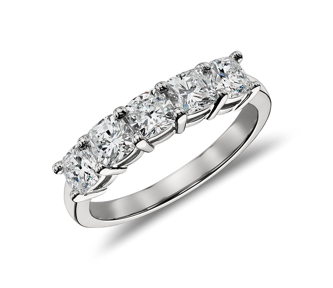 Classic Cushion Cut Five Stone Diamond Ring in Platinum