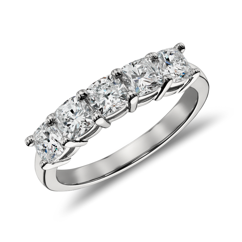 Classic Cushion Cut Five Stone Diamond Ring in Platinum (1 1/2 ct. tw.)