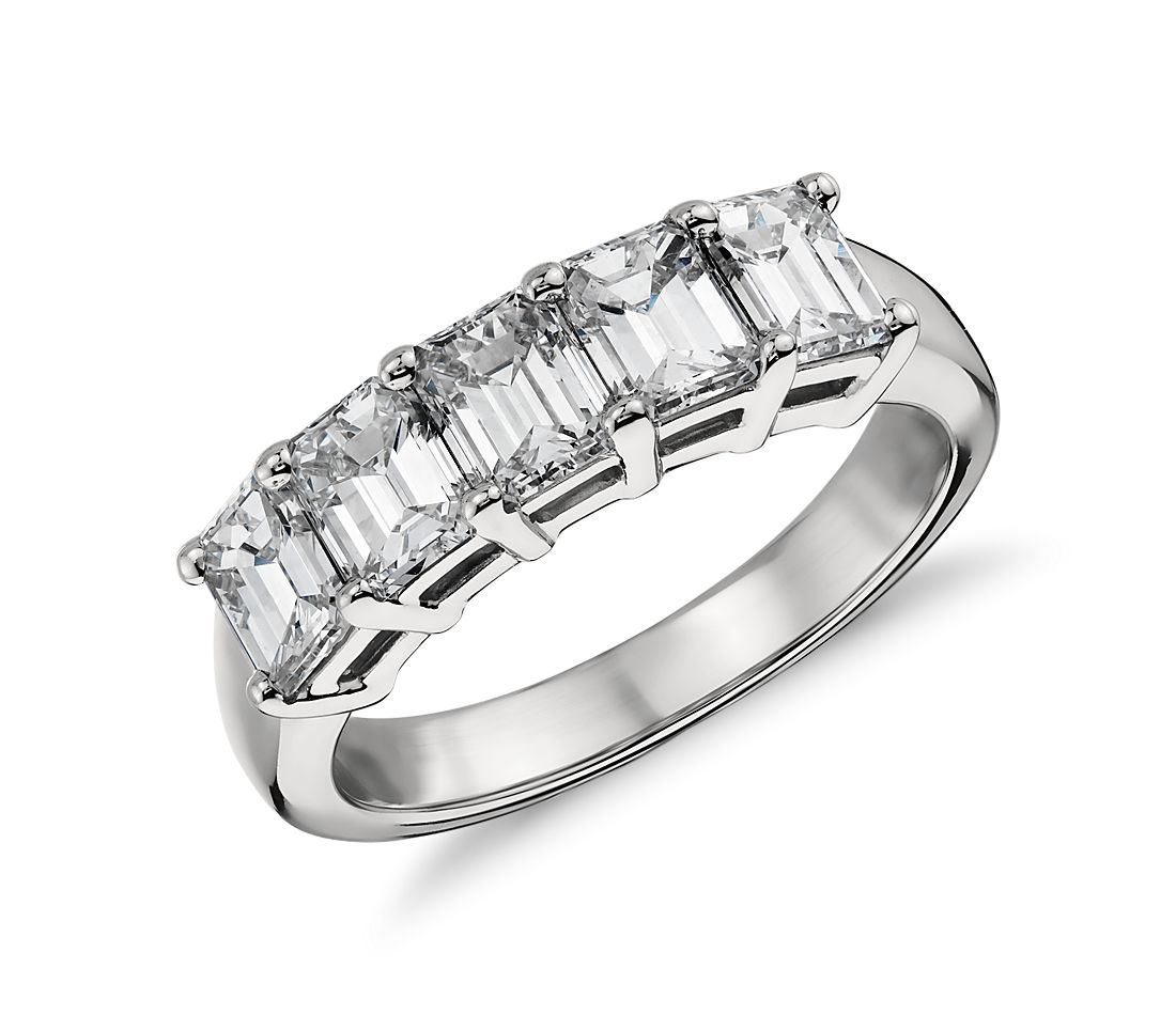 Classic Emerald Cut Five Stone Diamond Ring in Platinum (2 ct. tw.)
