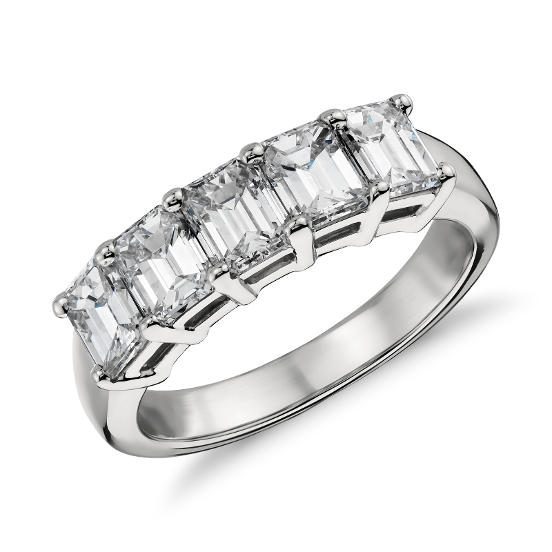 Classic Emerald Cut Five Stone Diamond Ring in Platinum (2 ct. tw