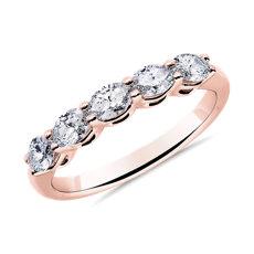14k 玫瑰金五石橫向橢圓形鑽石結婚戒指 - I/SI2 (3/4 克拉總重量)