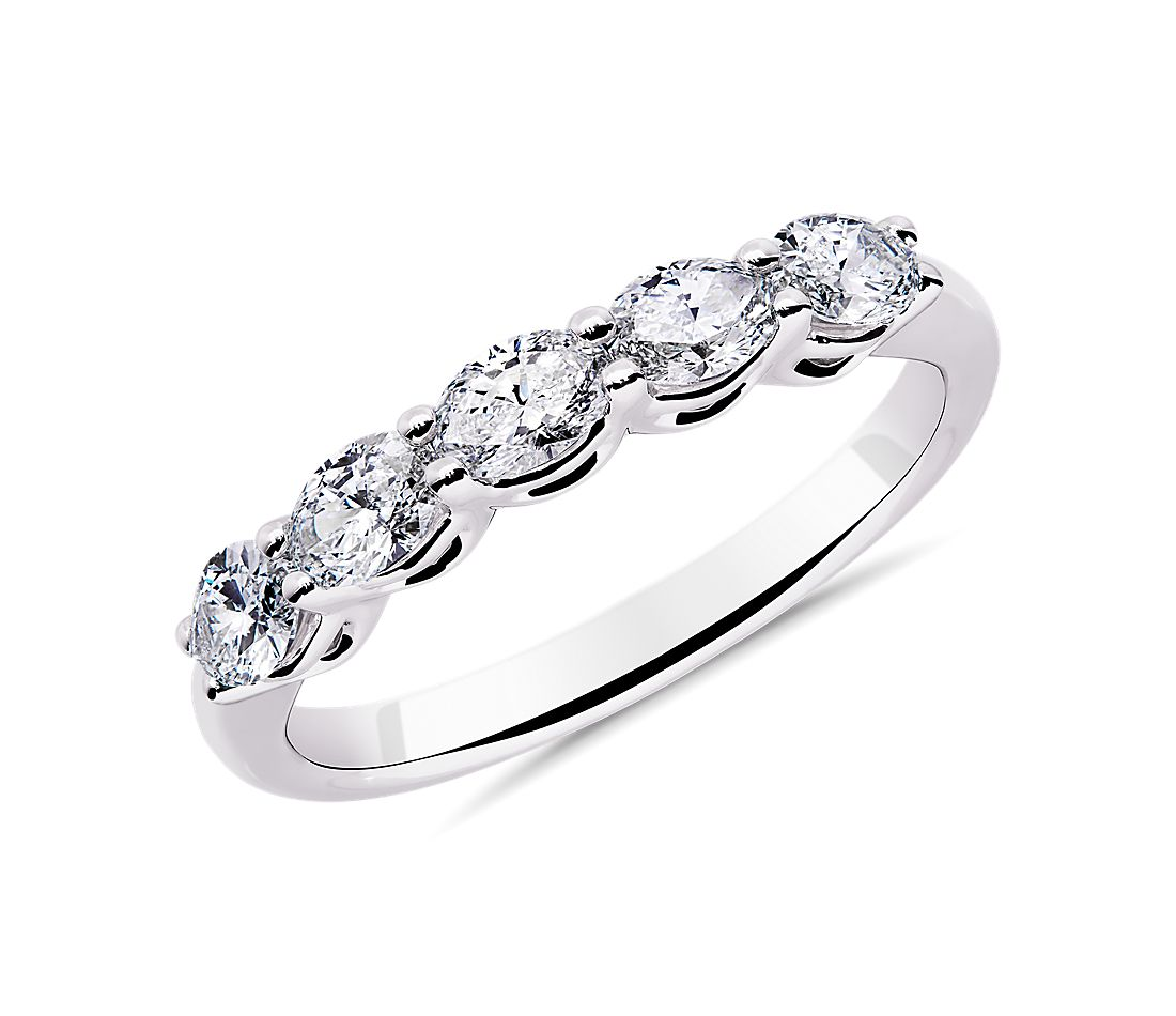 Five Stone East-West Oval Diamond Wedding Ring in 14k White Gold - I/SI2  (0.73 ct. tw.)
