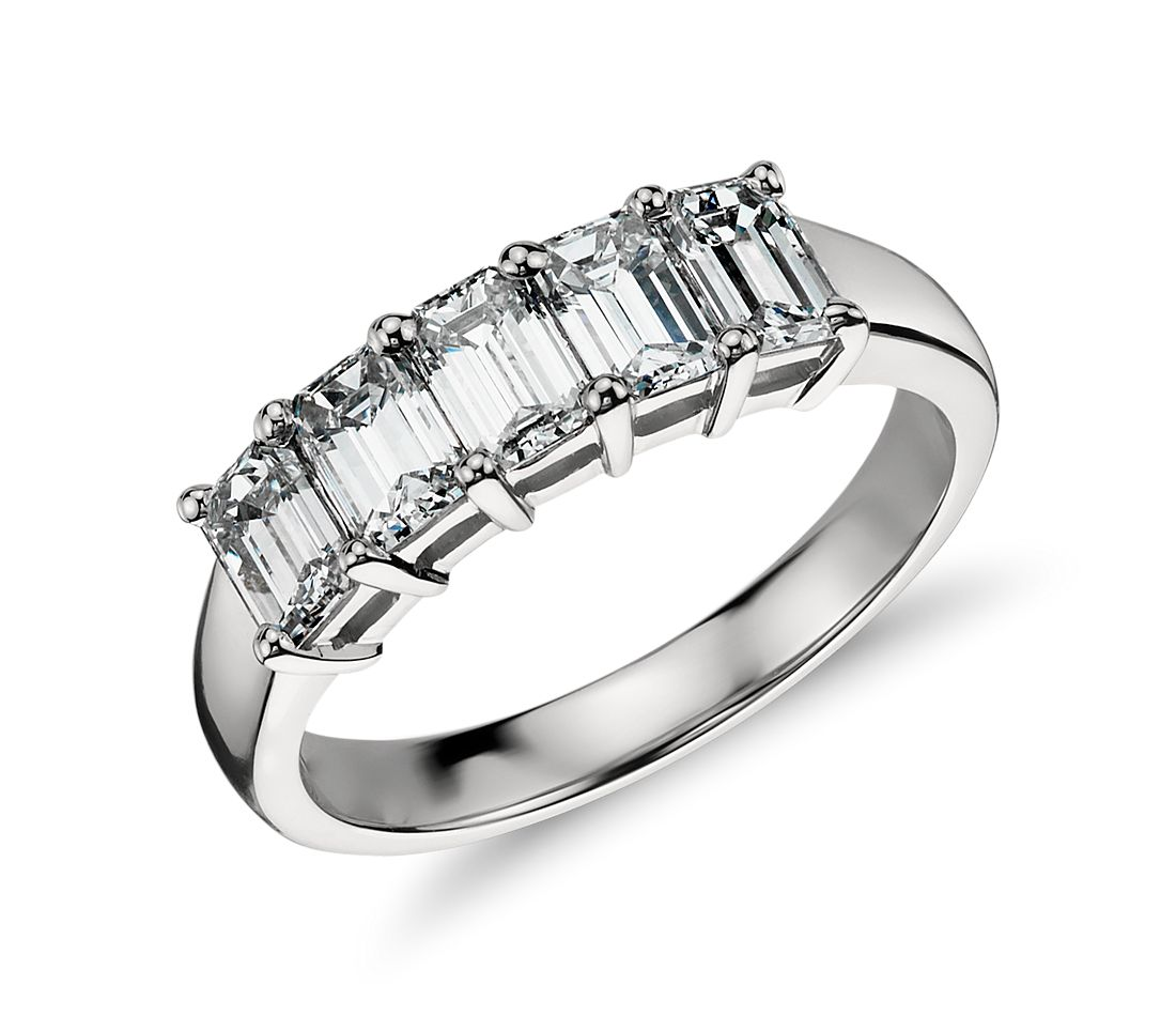 Classic Emerald Cut Five Stone Diamond Ring in Platinum (1.50 ct. tw.)