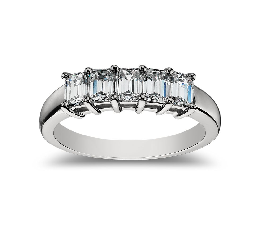 Classic Emerald Cut Five Stone Diamond Ring In Platinum 1