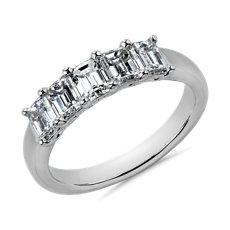 NOUVEAU Bague diamant taille émeraude à cinq pierres en platine - G/VS2 (1 1/2carats, poids total)
