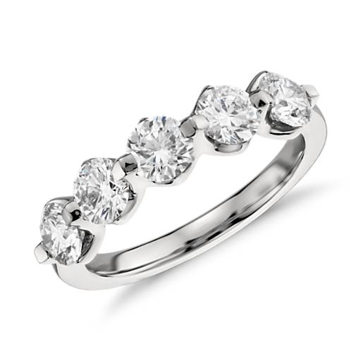 Five Stone Floating Diamond Ring In Platinum 1 5 Ct Tw