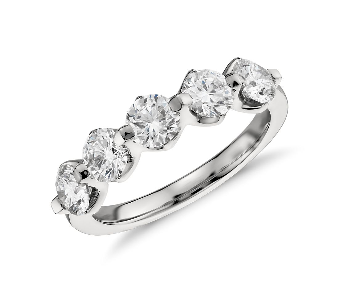 Five Stone Floating Diamond Ring In Platinum 15 Ct Tw