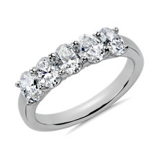 Five Stone Oval Cut Diamond Ring in Platinum- G/SI1 (1.45 ct. tw.)