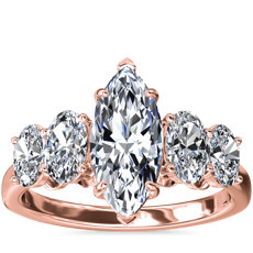 NEW Graduated Oval Diamond Engagement Ring in 18k Rose Gold (7/8 ct. tw.)