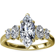 NEW Graduated Oval Diamond Engagement Ring in 18k Yellow Gold (1/2 ct. tw.)