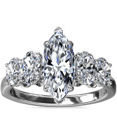 NEW Graduated Oval Diamond Engagement Ring in Platinum (7/8 ct. tw.)