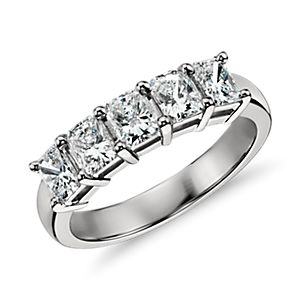 Classic Radiant Cut Five Stone Diamond Ring in Platinum (1 ct. tw.)