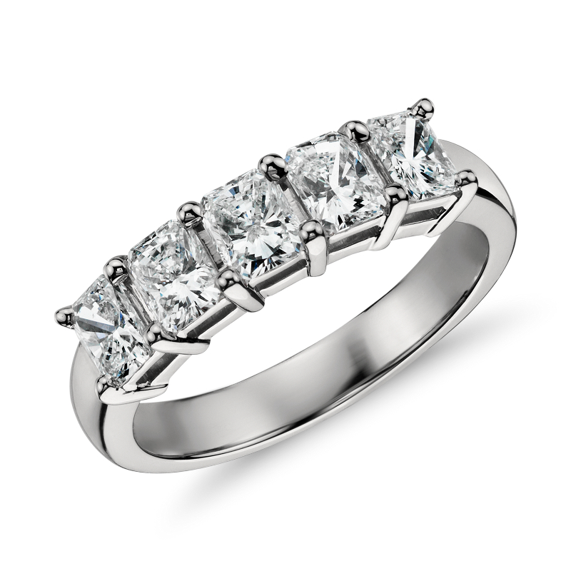 Classic Radiant Cut Five Stone Diamond Ring in Platinum (1 ct. tw