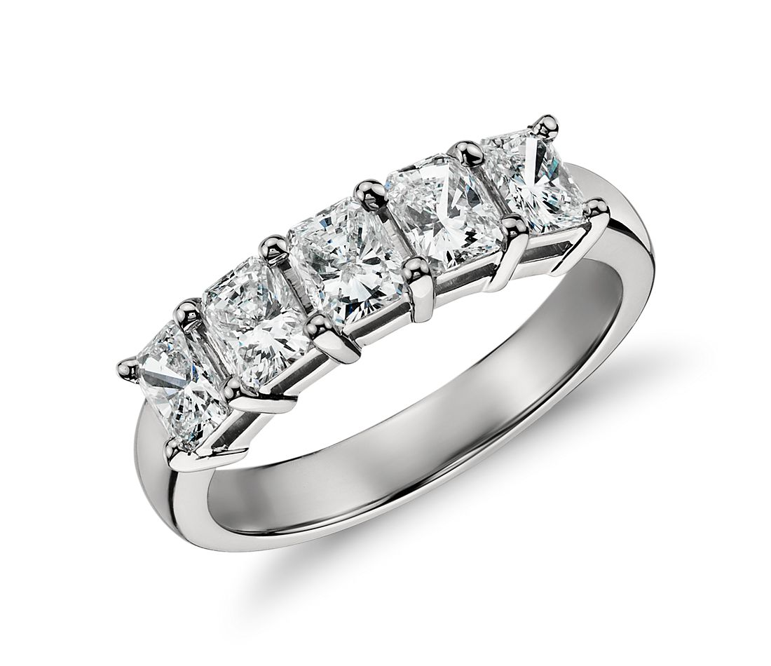Classic Radiant Cut Five Stone Diamond Ring in Platinum (1 1/2 ct. tw.)