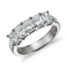 Classic Radiant Cut Five Stone Diamond Ring in Platinum (2 ct. tw.)