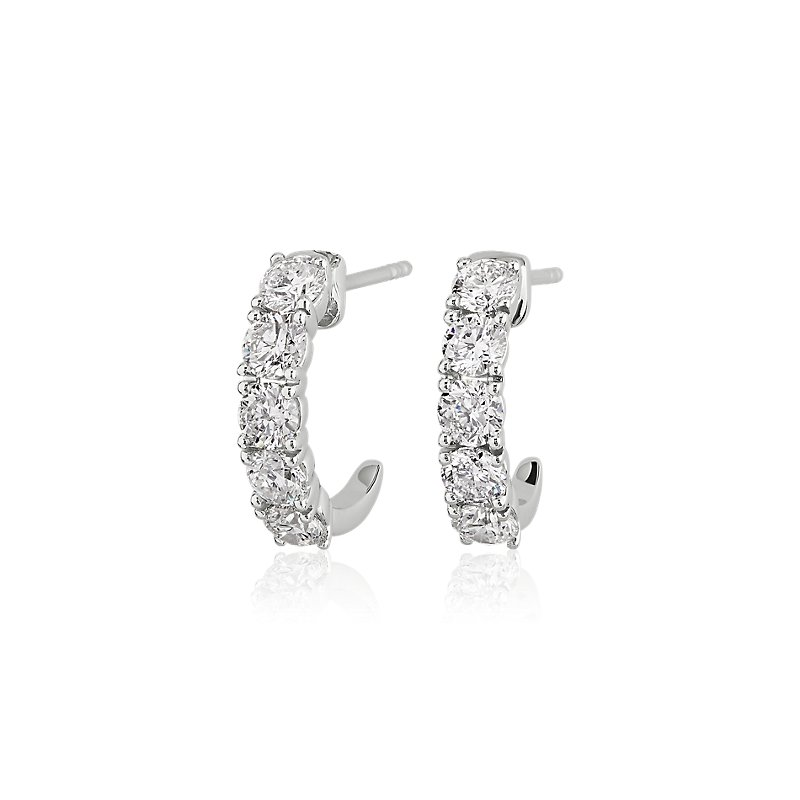 Five Stone Semi-Hoop Diamond Earrings in 14k White Gold (1 9/10 c
