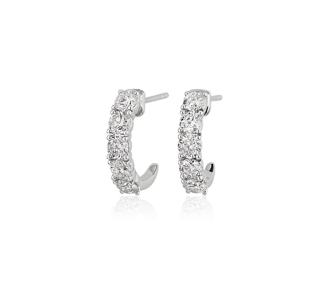 Five Stone Semi-Hoop Diamond Earrings in 14k White Gold (1 9/10 ct. tw.)