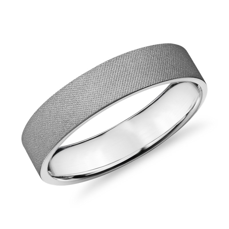 Flat Gray Florentine Finish Wedding Ring 14k White Gold (5mm)