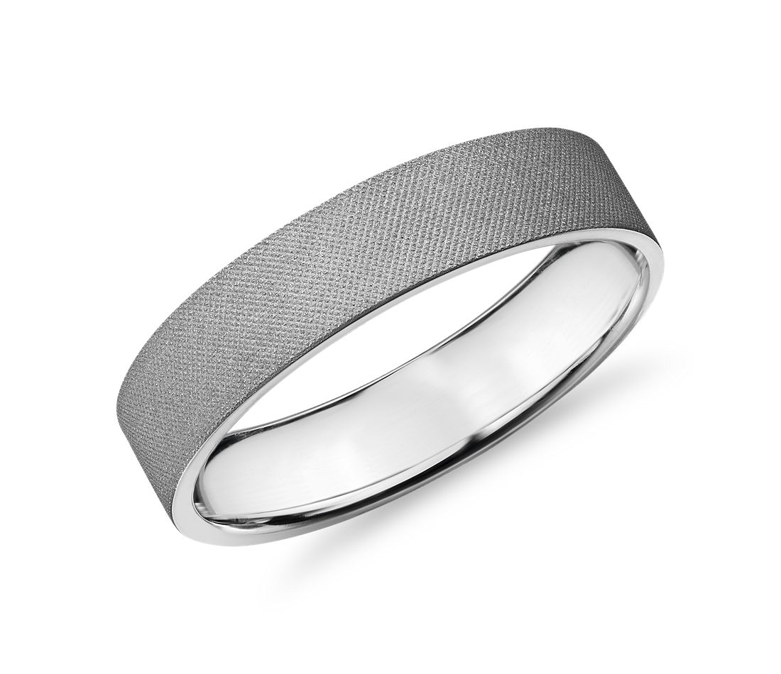 Flat Grey Florentine Finish Wedding Ring 14k White Gold (5mm)