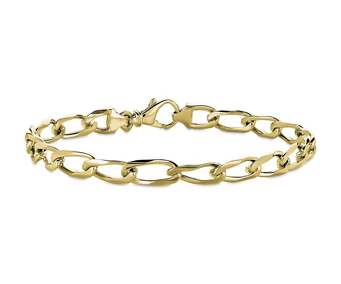 Men's flat Link Bracelet in 14k Yellow Gold