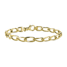 NEW Men's flat Link Bracelet in 14k Yellow Gold