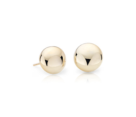 Flat Round Button Studs in 14k Yellow Gold