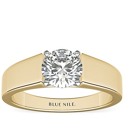 Wide Band Solitaire Engagement Ring in 18k Yellow Gold (5mm)