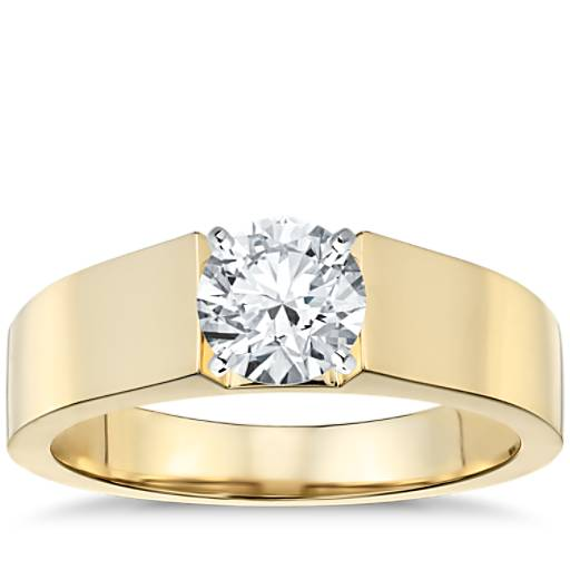 Flat Solitaire Engagement Ring In 18k Yellow Gold 5mm