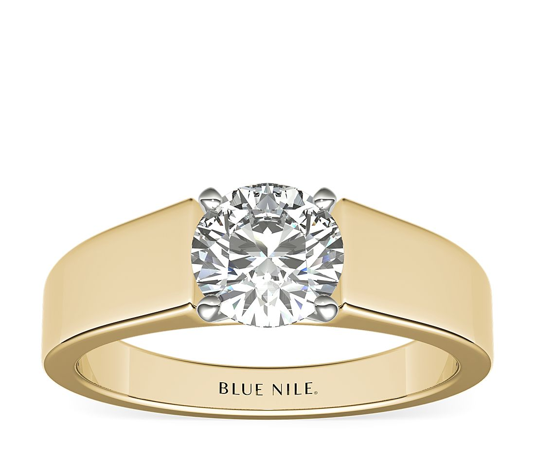 Wide Band Solitaire Engagement Ring In 18k Yellow Gold