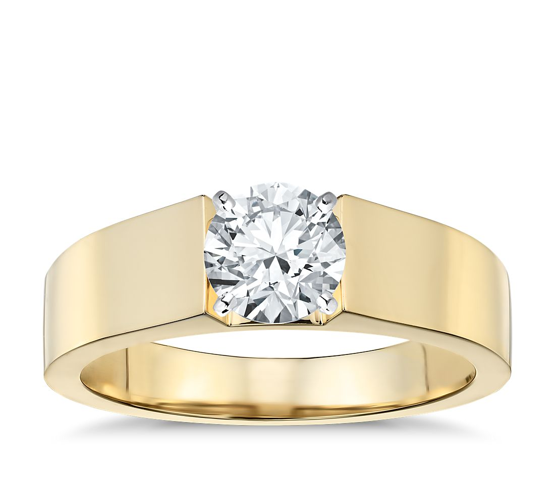 flat solitaire engagement ring in 18k yellow gold 5mm - Yellow Gold Wedding Rings