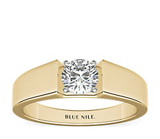 18k 金宽版单石订婚戒指(5毫米)