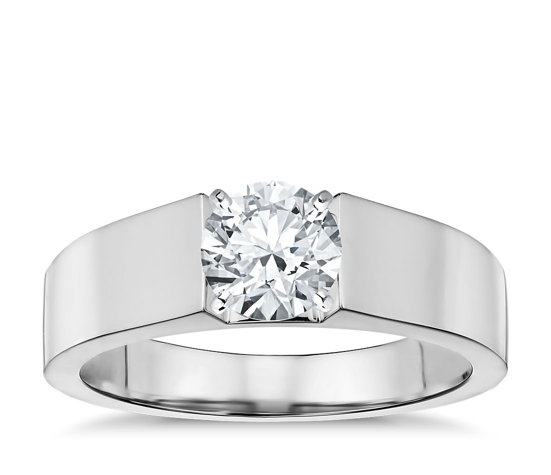 flat solitaire engagement ring in 14k white gold 5mm - Flat Wedding Rings