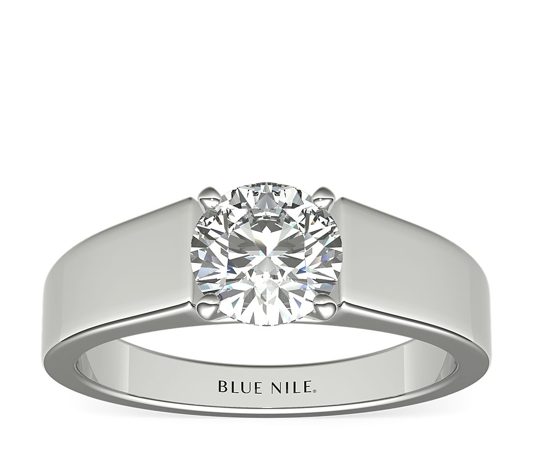Flat Solitaire Engagement Ring In Platinum 5mm Blue Nile