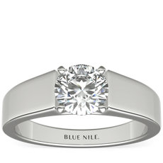 Wide Band Solitaire Engagement Ring in Platinum (5mm)