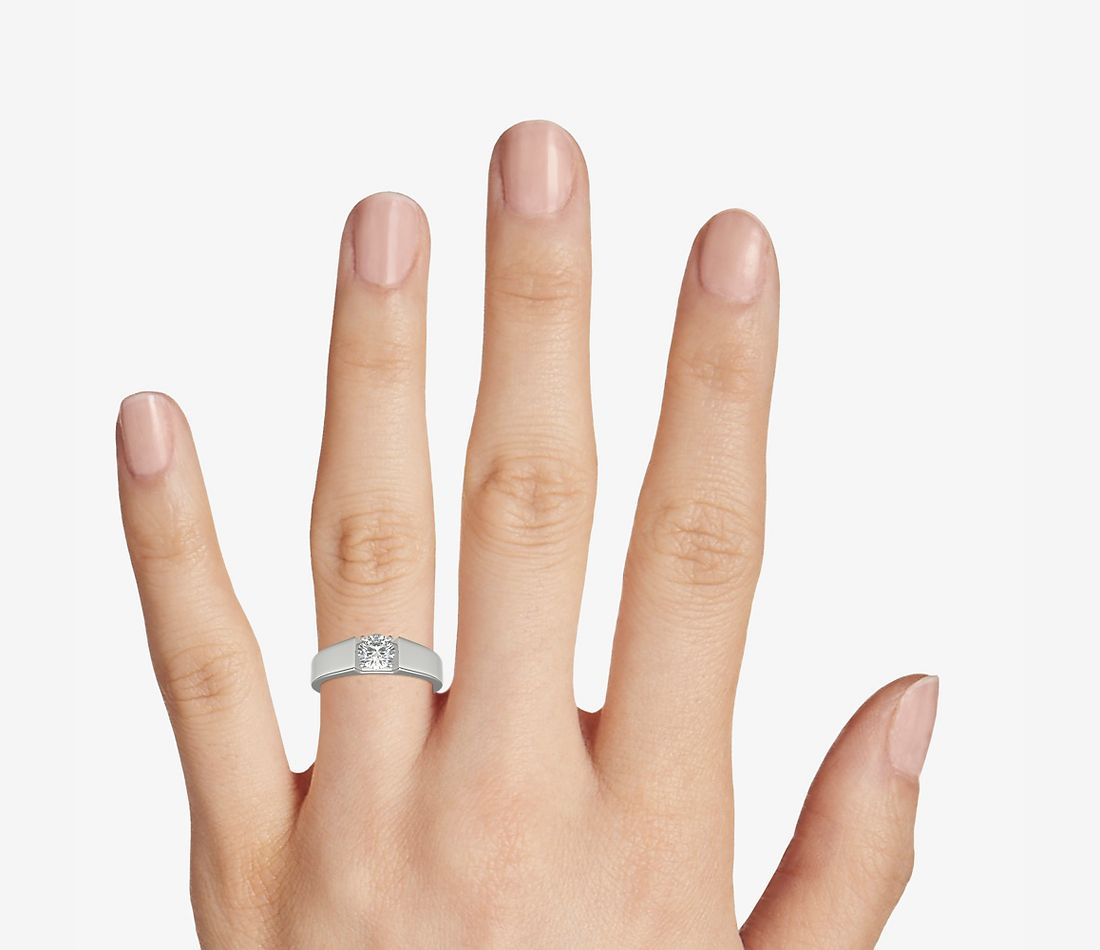 Top view of ring on a hand