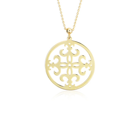 Fleur de Lis Necklace in 14k Yellow Gold