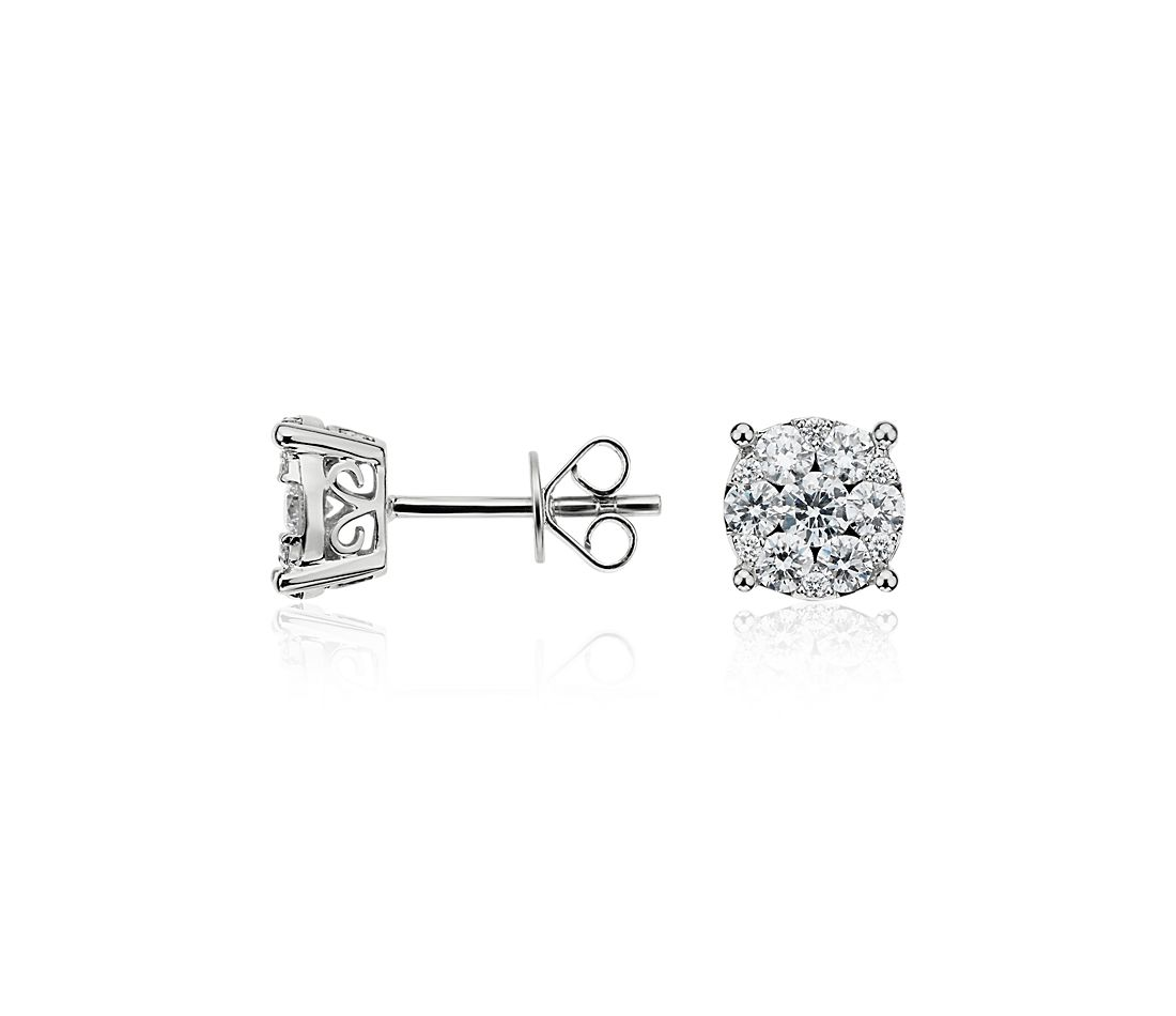 Fleur Diamond Earrings in 14k White Gold (7/8 ct. tw.)