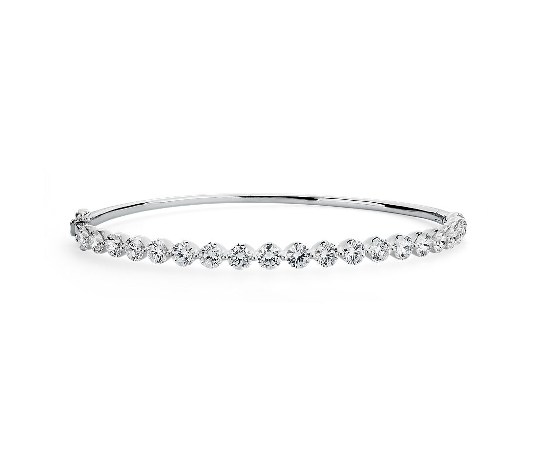 Floating Diamond Bangle in 14k White Gold (5 ct. tw.)