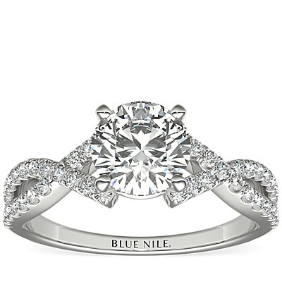 Fishtail Infinity Twist Diamond Engagement Ring in 14k White Gold