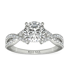 Fishtail Infinity Twist Diamond Engagement Ring in 14k White Gold