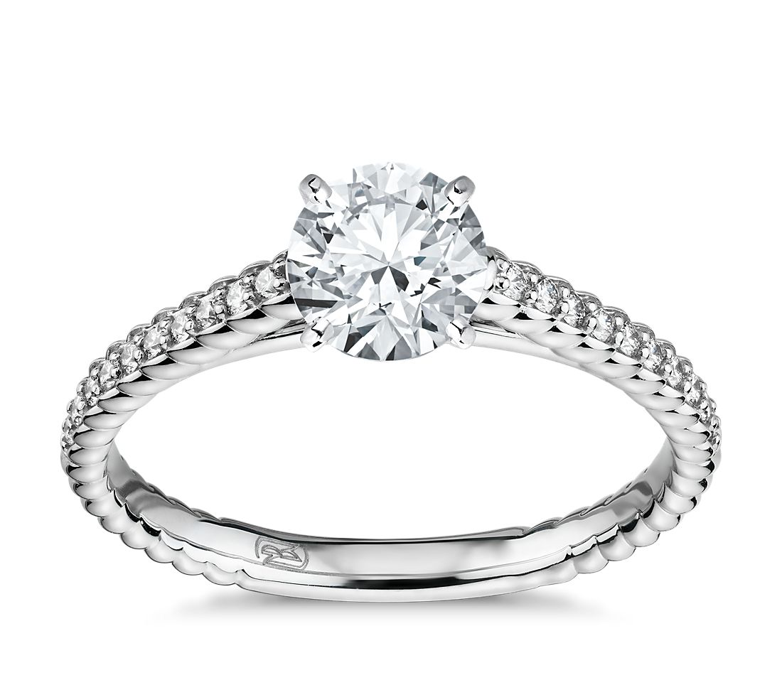 Petite Pave Roped Cathedral Diamond Engagement Ring in 14k White Gold (1/10 ct. tw.)