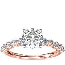 新款 14k 玫瑰金懸浮鑽石訂婚戒指 (3/8 克拉總重量)