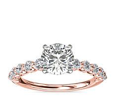 NUEVO. Anillo de compromiso estilo diamante montado al aire, en oro rosado de 14k (3/8 ct total)