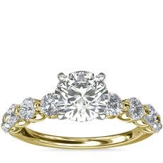新款 14k 金浮钻石订婚戒指(7/8 克拉总重量)